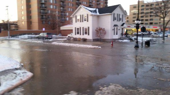 Water Main Break at Sigwalt Street and Dunton Avenue Arlington Heights in January 2015.