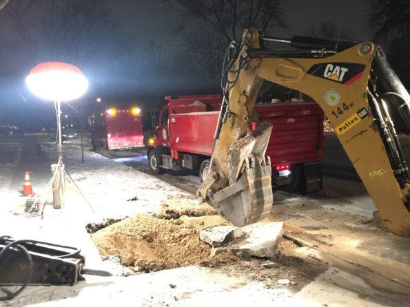 Water Main Break in Arlington Heights, December 2017