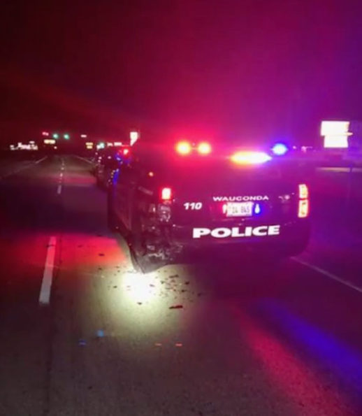 Wauconda Police SUV hit at night