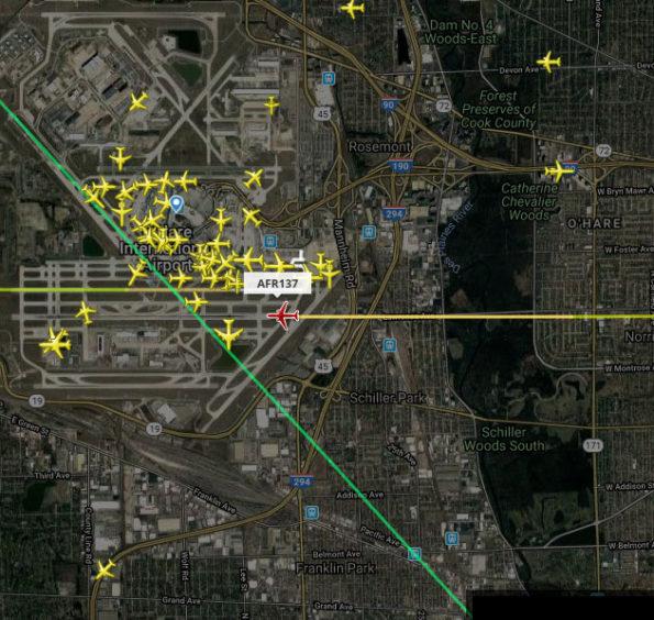 Flight Radar AF137 Landing O'Hare