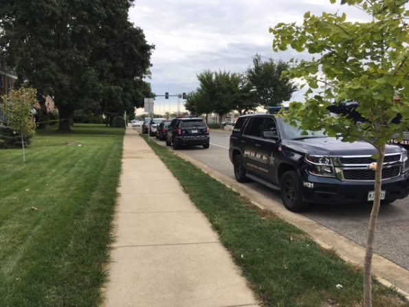 Crime scene tape at death investigation on Northwest Highway, Arlington Heights