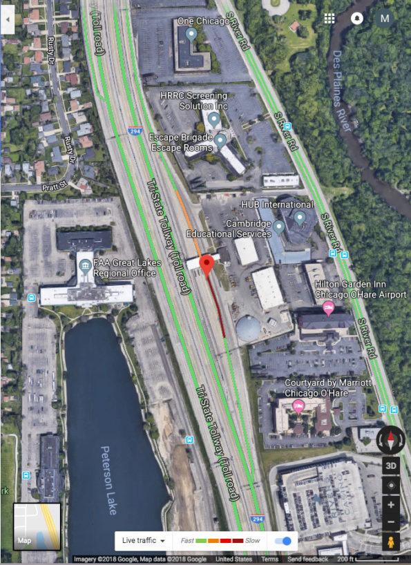 NB I294 Google Traffic Layer pedestrian hit