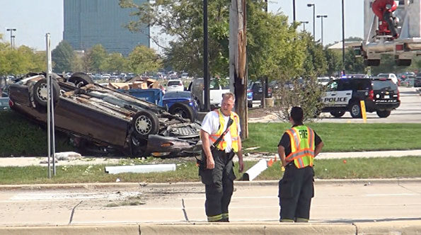 Rollover Crash Meacham Road and Golf Road Schaumburg — NO INJURIES (Cardinal News Photo).