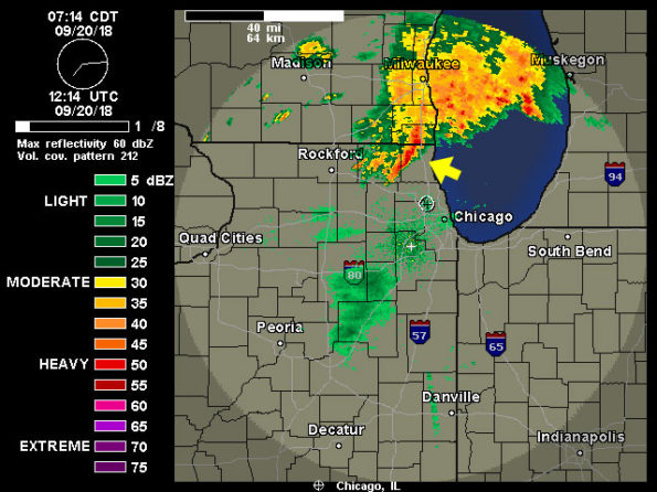 Round Lake Radar from Weather Underground at 714