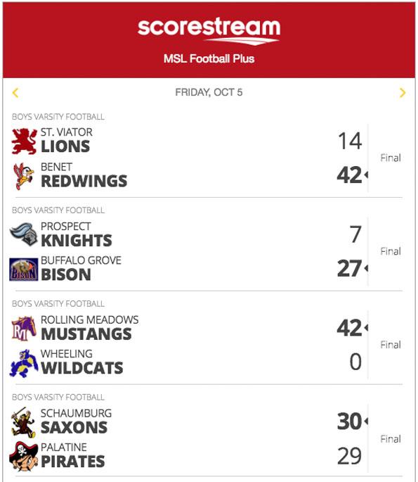 MSL St Viator Varsity Football scores