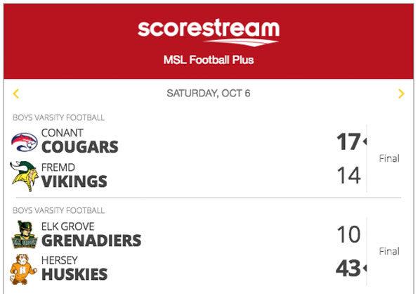 MSL St Viator High School football scores