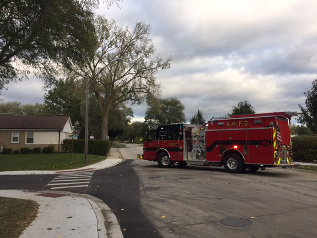 Engine 2 on Miner Street for wires down