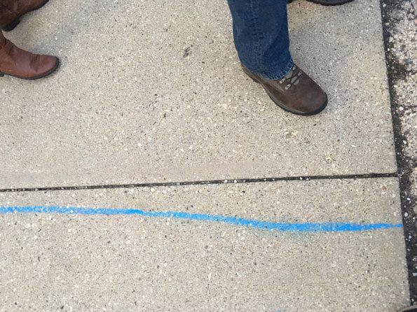 Blue Line at Polling Place