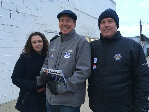 Mike Corrigan campaigning for son Eddie Corrigan in Arlington Heights