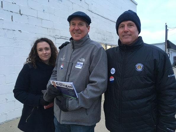 Mike Corrigan campaigning for son Eddie Corrigan in Arlington Heights