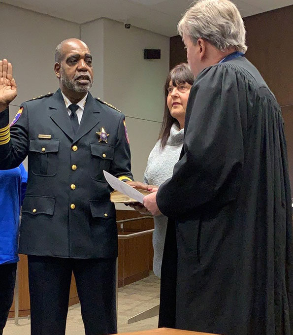 Lake County Sheriff John Idleburg swearing in at private ceremony