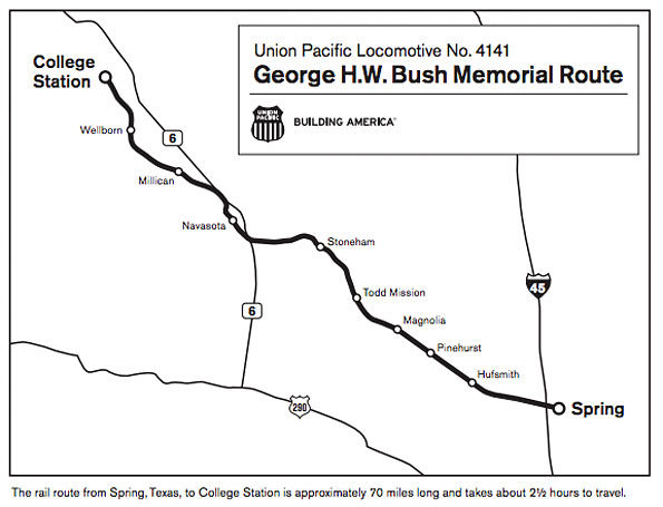 Union Pacific 4141 George HW Bush funeral route