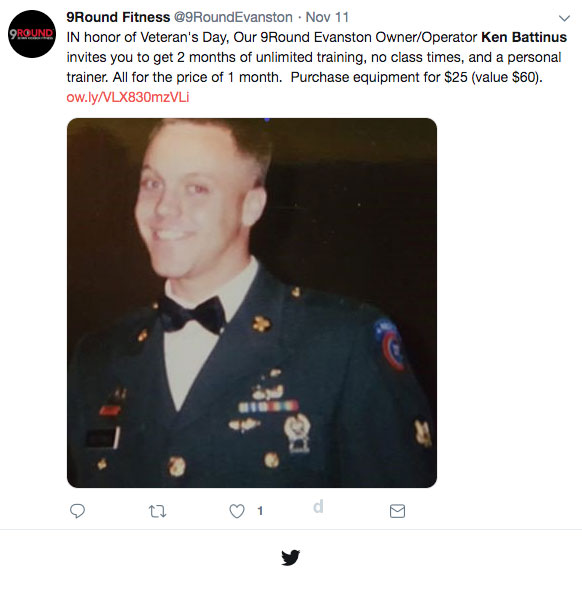 Ken Battinus Veterans Day Tweet