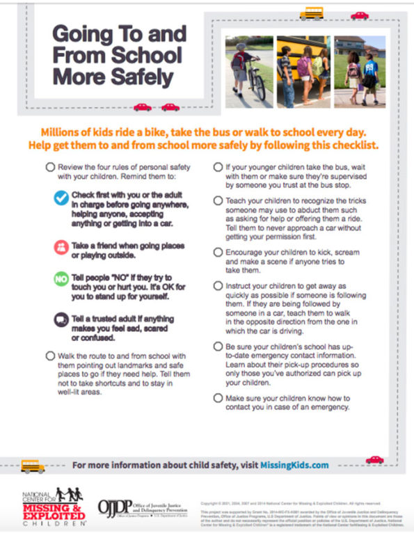 MissingKids.com Flyer: Going To and From School More Safely