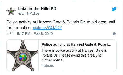 Lake in the Hills Police Activity Alert Friday February 8, 2019