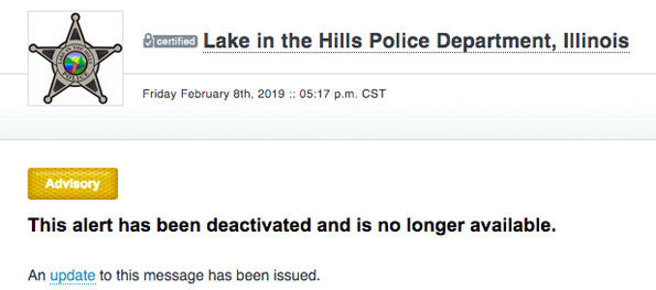 Lake in the Hills Police Activity Expired Alert