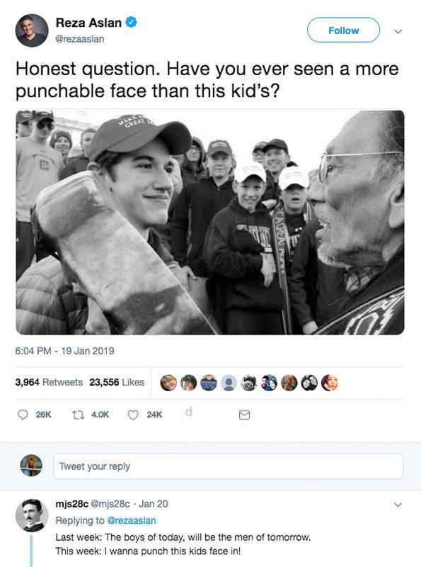 Reza Aslan Punchable Face of Nicholas Sandmann tweet