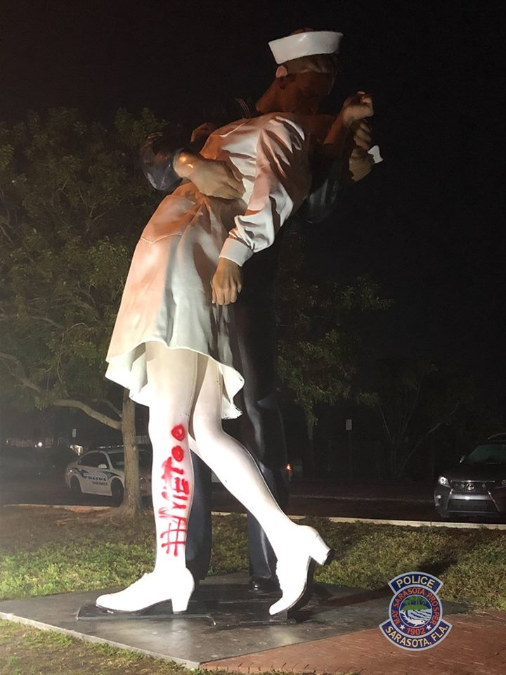 Sarasota Unconditional Surrender vandalism
