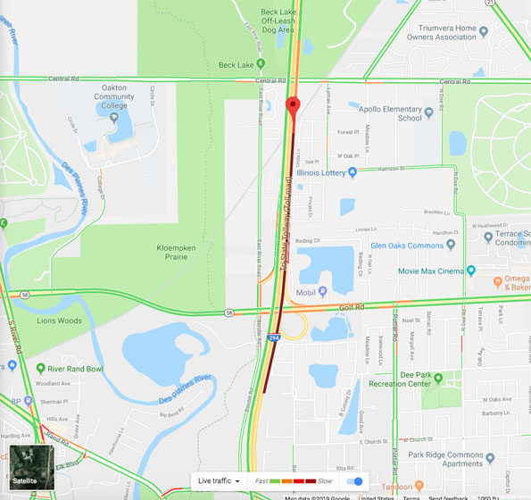 Map  of I-294 crash with disabled vehicle