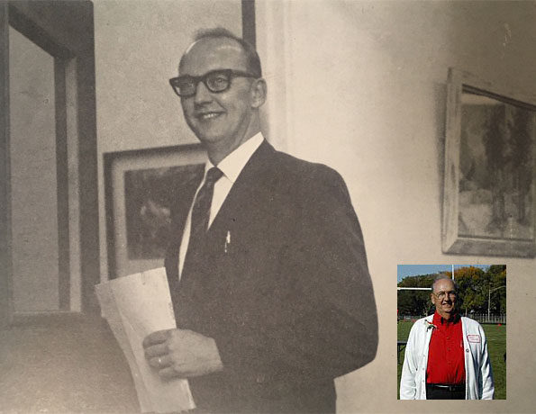 John Rowe in 1971 and at Homecoming 2002