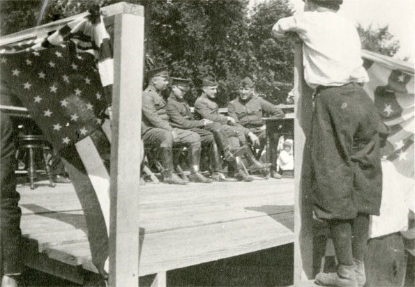 Military on decorated deck