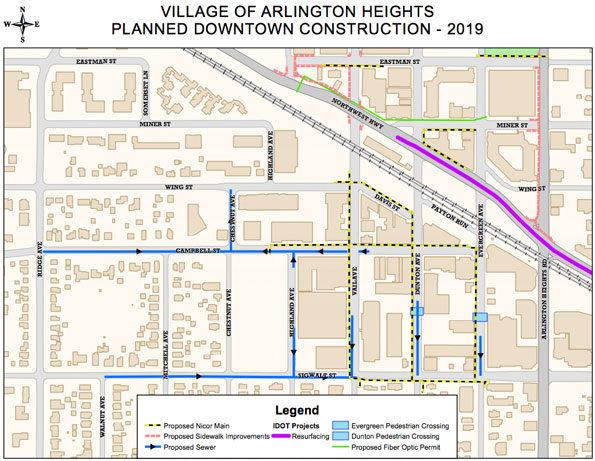 Arlington Heights Downtown Construction 2019