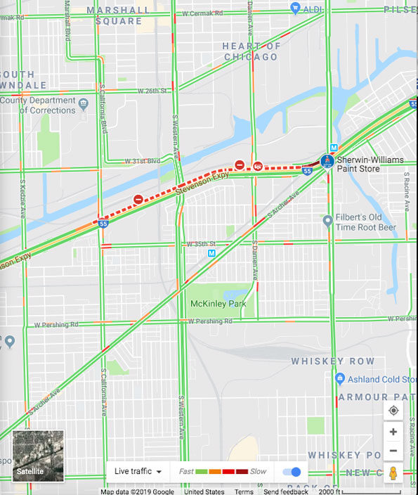 Traffic Map of fatal Uber crash at I-55a and Damen Avenue, Chicago