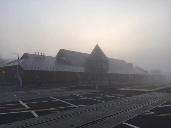 Foggy sunrise at Metra Train Station Arlington Heights