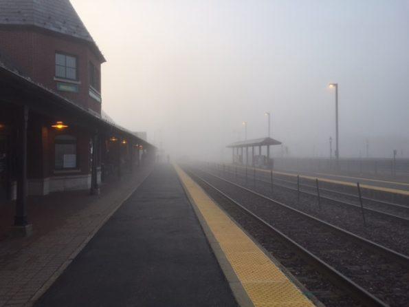 Foggy Metra rail station