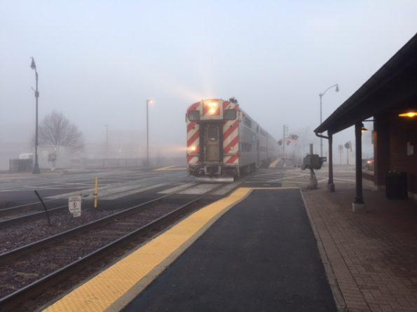 Foggy train arriving