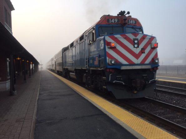 Foggy Metra train departing