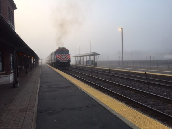 Foggy Metra departing the station