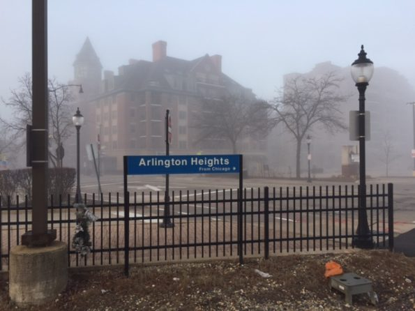 Foggy Arlington Heights from Chicago