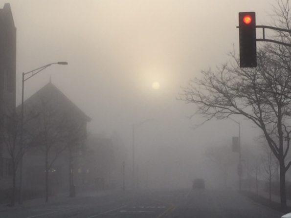 Foggy Sigwalt Street at sunrise