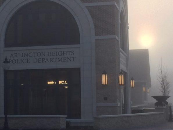 Foggy sunrise at police station