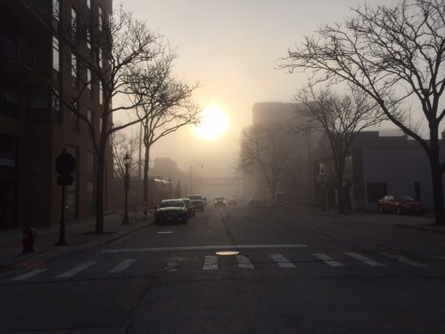 Foggy sunrise on Miner Street