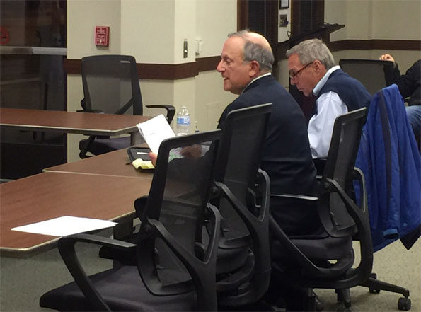 Michael D.Firsel (left) and Bruce Adreani meeting with Arlington Heights Housing Commission