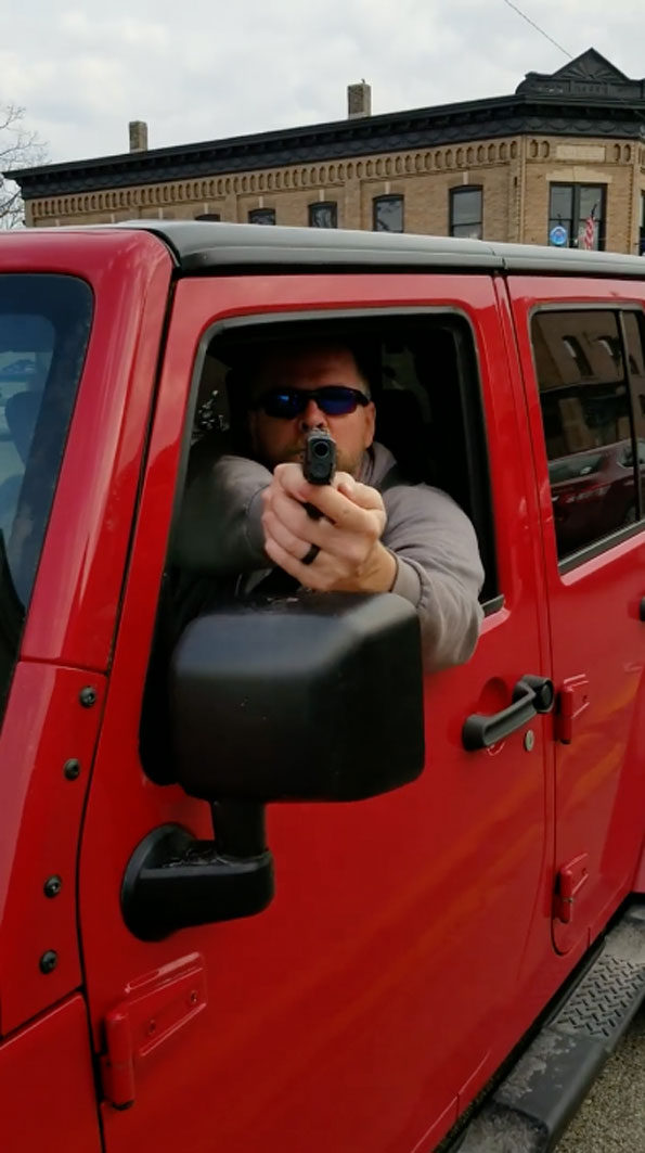 Road Rage with gun displayed on Main Street (Route 12) in Richmond, Illinois