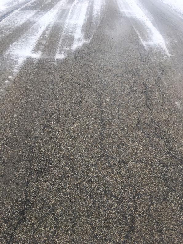 Road with some slush April 14, 2019