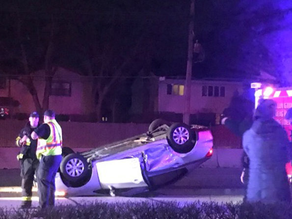 Rollover cras Palatine Road and Windsor Drive Arlington Heights