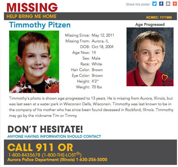 Timmothy Pitzen Missing Kids