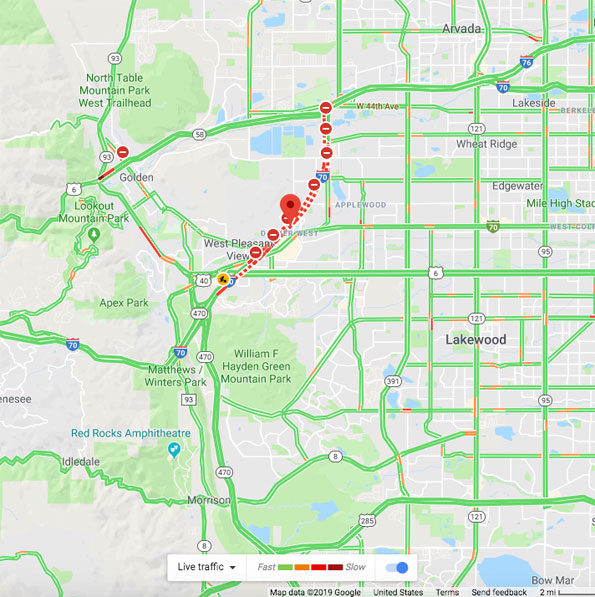Traffic Map Lakewood Colorado on April 25, 2019