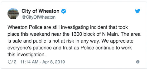 Wheaton Police Stabbing Tweet April 8, 2019 11:14 AM