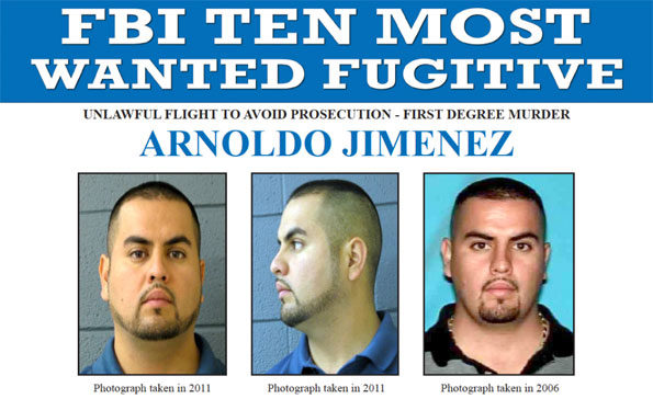 Top portion of FBI Ten Most Wanted Fugitive poster for Arnoldo Jimenez