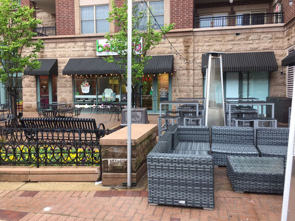 Blocked again by mess of outdoor furniture at Shakou