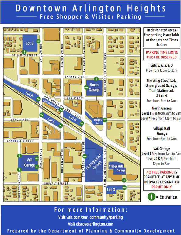 Downtown Arlington Heights parking map 2019