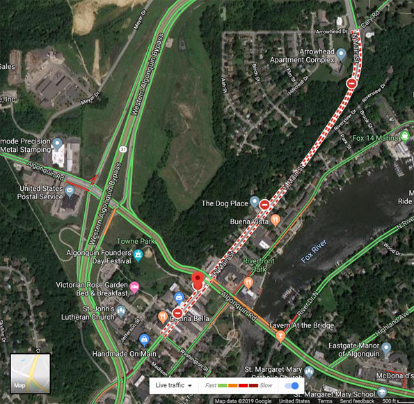 Algonquin excavator accident map and satellite view from May 21, 2019 accident