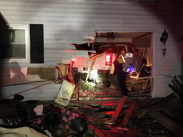 Pickup truck crash into house in unincorporated Spring Grove