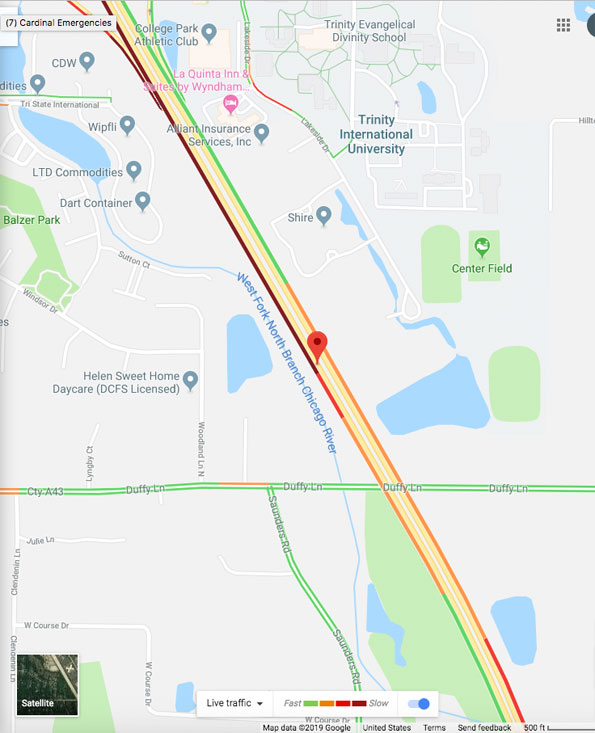 Map Tri-State Tollway crash near Duffy Lane May 15, 2019