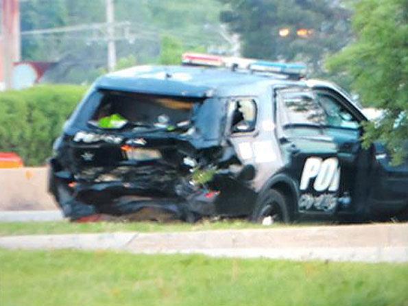 Crash Highland Park Police SUV rear-ended